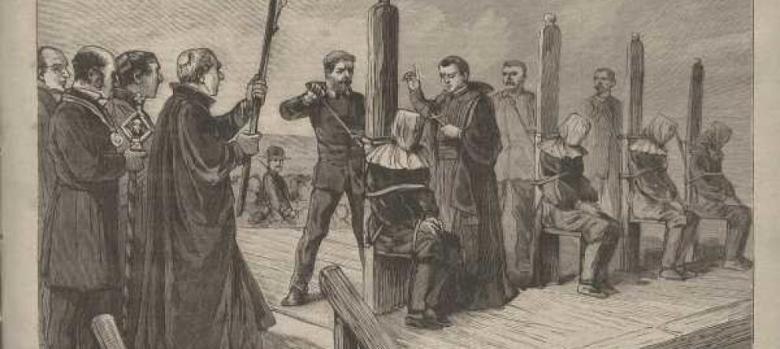 La ejecución de los reos acusados de ser de la Mano Negra en Jerez por Ruiz Castellanos y sus ayudantes. Ilustración de la época.