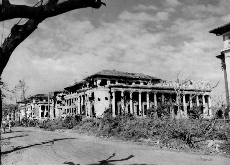 Villamor Hall on the campus of the University of the Philippines, Manila, Philippines, 1945