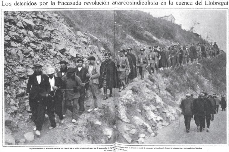 Sucesos revolucionarios Alto Llobregat.Cuerda de presos. Mundo gráfico. 26.01.1932
