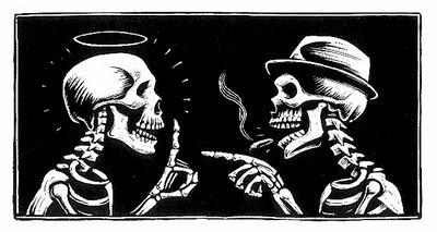 esqueletos discutiendo
