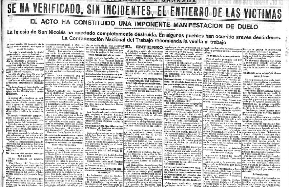 El Defensor de Granada Sanjurjada portada