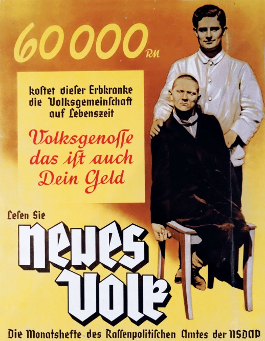Nazi Party poster showing how disabled people cost money and promoting eugenics and euthanasia of the disabled - the T4 program