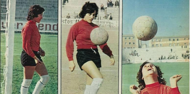 """Concepción Sánchez, conocida como """"Conchi Amancio"""", fue una de las pioneras del fútbol femenino español (foto de 1971). Fuente: elpais.com"""