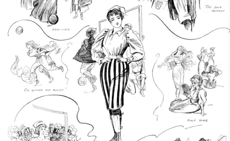 Caricatura satírica sobre el fútbol femenino, publicada en The Sketh, octubre de 1894. Fuente: www.donmouth.co.uk