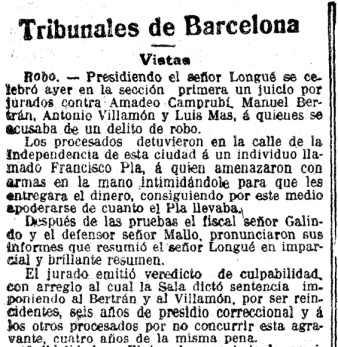 La condena de Mas y Camprubí. Fuente: La Vanguardia, 19-2-1915.