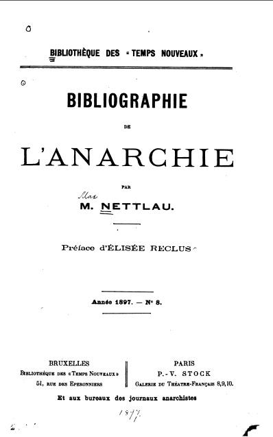 Bibliografia de la Anarquia de Max Nettlau