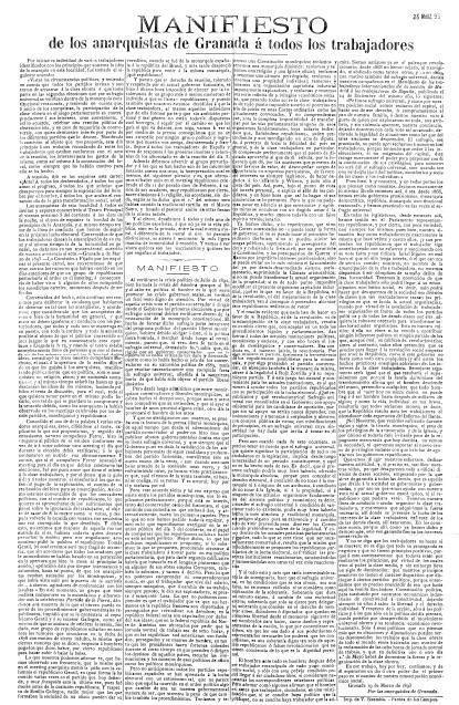 Manifiesto de los anarquistas de Granada 1893