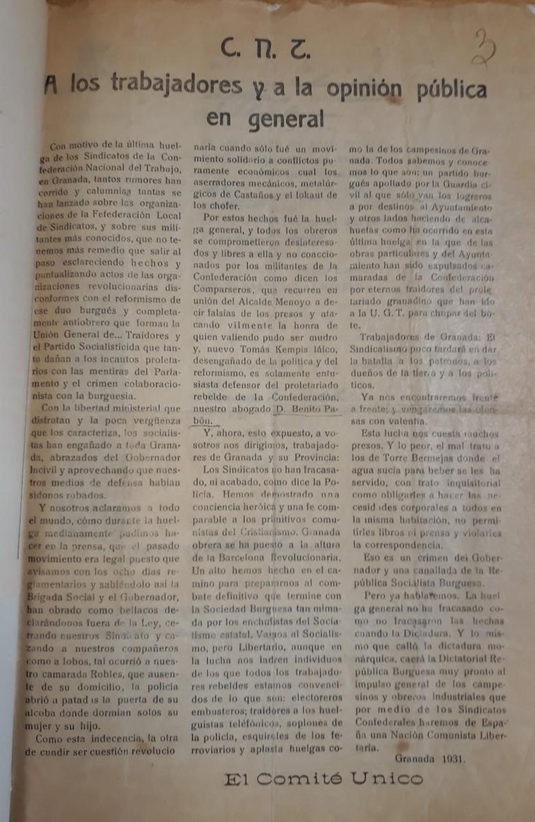 Manifiesto huelga general CNT Granada