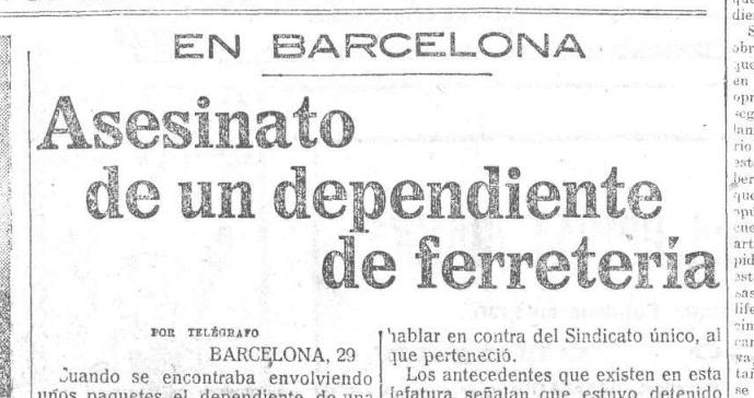 Titular de la noticia en El Heraldo de Madrid, 29-12-1920, p. 1.