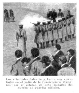 Dibujo de los fusilamientos de Salvatto y Lauro (1916)