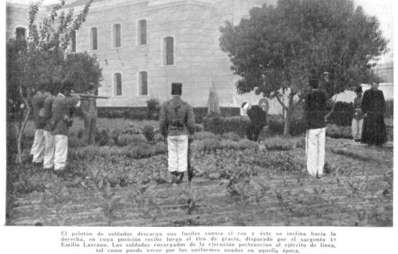 Posible recreación de fusilamiento (probablemente sobre Grossi, 1900)