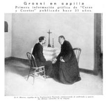 Dibujo del encuentro de Grossi con un sacerdote antes de la ejecución publicada en 1900.