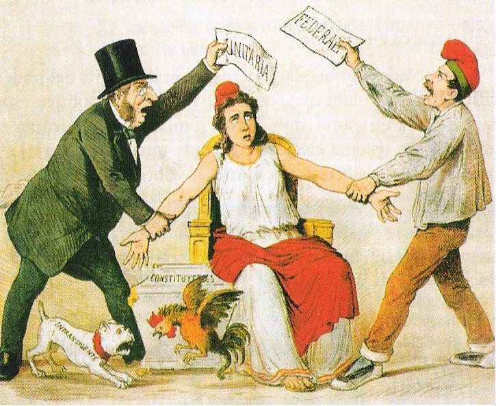 Ilustración de la revista La Flaca (1873). La República Española entre el centralismo y el federalismo.